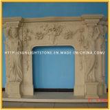 Mensola del camino di marmo bianca intagliata del camino di pietra di Bianco Carrara