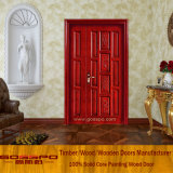 Tallado de madera sólida Puerta de hoja doble desigual (GSP1-012)