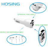 2.1A Mini Car Charger met Cable voor Ios en Andriod