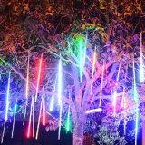 da decoração clara solar impermeável do casamento do Valentim do Natal do diodo emissor de luz das câmaras de ar da chuva do chuveiro de meteoro de 10PCS/Set 30cm luzes feericamente da corda