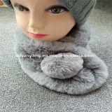 Шарфы шерсти кролика Faux шлема Beanie шерсти шарфа шумоглушителя дешевой поддельный шерсти с капюшоном