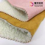 Tissu tricoté en daim collées avec Sherpa tissu pour vêtements d'hiver