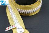 Custom красочные открытый конец стразами декоративной застежкой на молнию алмазов (Gold/цветные камни/ZP-03)