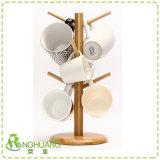 Gancho de 6 taza de té colgantes de madera de bambú taza de café Rack Tree