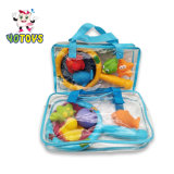 Plástico de PVC de juguetes de baño de la pesca con red de pesca