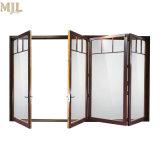 Portello Bifold di alluminio di vetro del doppio termico di legno insonorizzato della rottura