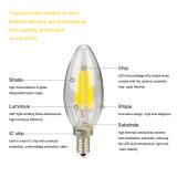 El blanco caliente E27 E12 E14 borra el bulbo 4W de la vela del LED