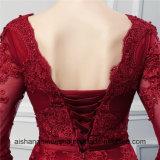 A dama de honra longa de Borgonha das luvas veste vestidos da dama de honra de Tulle da alta qualidade