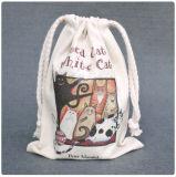 I sacchetti di Drawstring all'ingrosso del cotone con l'abitudine hanno stampato