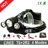 2016 batteries du CREE T6+2r2 DEL Headlamp+Charger+18650 de type les plus neuves