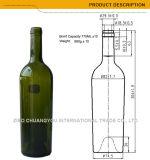 Cork van de Rang van het voedsel de Hoogste Spitse Fles 750ml van het Glas (354)
