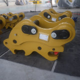 L'excavatrice partie le coupleur rapide hydraulique