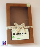 Estilo sencillo con cinta y la ventana de Brown Kraft caja de cartón de regalo