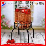 Erogatore di vetro della spremuta di vendite calde con il basamento del metallo e del colpetto