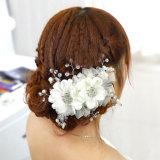 Бусинковый спай ручной работы элегантный букет Crystal устраивающих свадьбу Headpiece головном уборе новых аксессуаров
