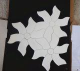 新しい風車の花の整形白いWaterjetモザイク・タイル