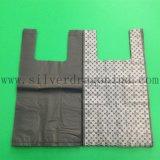 Biobased ou sac en plastique de T-shirt d'épicerie biodégradable avec l'impression