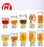 tarro de cristal del almacenaje Jar/16oz del alimento de 500ml 750mlclear con el clip del metal