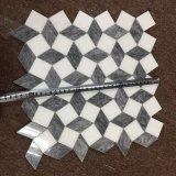 Thassos weiße und graue Marmor-Mosaik-Fliese des Würfel-3D