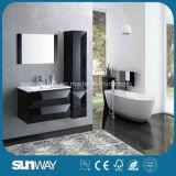 Gabinete de banheiro moderno do MDF do preto da venda quente com dissipador (SW-1316)