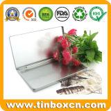 Прикрепленная на петлях серебром прямоугольная тонкая коробка олова для коробок хранения канцелярских принадлежностей