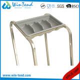 最下の棚との容易な輸送のための熱い販売の正方形の管の食事用器具類のホールダーのトロリーカート