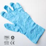 Голубые перчатки рассмотрения нитрила, пудрят свободно, Малайзия