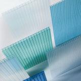 Bleu 6mm 10 ans de garantie de jumeau de mur de polycarbonate de cavité de feuille de panneau de Sun