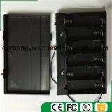 support de la batterie 6AA avec les fils, la couverture et commutateur rouges/noirs de fil
