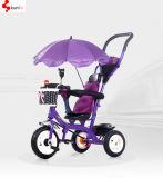 1대의 아기 세발자전거, 돌릴수 있는 시트 커피 색깔 아기 세발자전거, 강철 아기 Trike EVA 타이어 아기 세발자전거에 대하여 안전 4