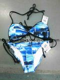 Красный цвет напечатал сексуальный пляж Бикини для женщин/девушки, плавая Swimsuit износа/бюстгальтер