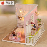 Brinquedo de casa de boneca em miniatura de madeira linda DIY
