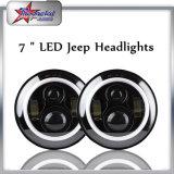 7 '' faro de LED con anillo de halo para Jeep Wrangler Tj Jk, 7 pulgadas redondo 50W de alto haz bajo Jeep Wrangler LED faro