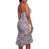 Белый цвет черный кружевной вышивкой Русалки MIDI производителей одежды
