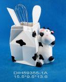 Supporto di ceramica dell'utensile della mucca per la decorazione cucina/della casa
