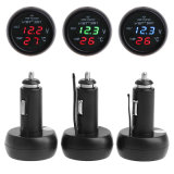 3in1 cargador universal 2.1A del voltímetro Gauge+Thermometer+USB del coche 12V Digitaces LED