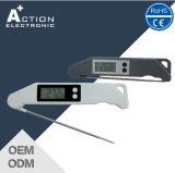 Termômetro de forquilha de churrasco digital dobrável para cozinha com sonda de aço inoxidável