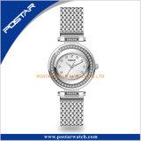 真空のめっきの新しい女性贅沢なダイヤモンドのサファイアのガラス腕時計