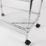 Multi-Función de alambre cromado Cocina Trolley Basket rack con ruedas de nylon