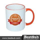 La tazza di ceramica di Bestsub 11oz con la sublimazione arancione della maniglia attacca B11b-03