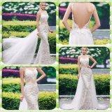 Платье венчания Mermaid шнурка планок спагеттиа открытое назад (Dream-100088)