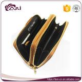 Raccoglitore genuino della chiusura lampo del doppio del raccoglitore della donna RFID del cuoio dell'olio della grande borsa di capienza