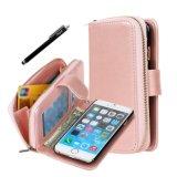 De luxe Dekking van het Geval van de Portefeuille van het Folio van het Pu- Leer voor iPhone 6