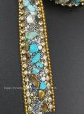 Testo fisso di cristallo della striscia di Hotfix della maglia di cristallo del Rhinestone dei branelli del cristallo (TS-042)