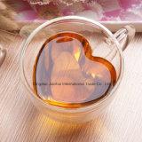 180ml de nieuwe Kop van de Muur van het Glas van de Vorm van het Hart van het Ontwerp Dubbele