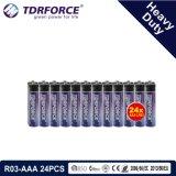1,5 V de la Chine de la fabrication de la batterie à usage intensif pour la fumée Detetor (R03-24pcs AAA)