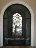 Individual Wrought Iron Face Door with Good Quality Tempered Knell