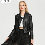 Europa y las señoras de las nuevas mujeres párrafo corto de la PU de la motocicleta chaqueta de cuero chaqueta de cuero de la chaqueta de las mujeres del estilo de la calle