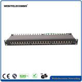 1u el panel de corrección de la red de los accesos del ftp CAT6A 24