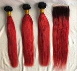 I nodi peruviani dei capelli del Virgin hanno candeggiato l'orecchio 13X4 a colore rosso grigio verde blu rosso della chiusura frontale del merletto di Ombre dell'orecchio